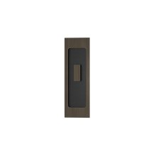 Rectangle Flush Pull - Turn Recess Leather In Black Tea And Vintage Patina