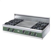 """Mint Julep 42"""" Open Burner Rangetop - VGRT (42"""" wide, four burners 18"""" wide griddle/simmer plate)"""