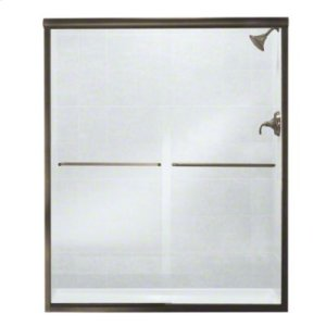 """Finesse™ Frameless Sliding Shower Door - Height 70-1/16"""", Max. Opening 59-5/8"""" - Deep Bronze with Smooth Clear Glass Texture Product Image"""