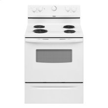 30-inch Freestanding Electric Range.  (This is a Stock Photo, actual unit (s) appearance may contain cosmetic blemishes. Please call store if you would like actual pictures). This unit carries our 6 month warranty, MANUFACTURER WARRANTY and REBATE NOT VALID with this item. ISI 34661