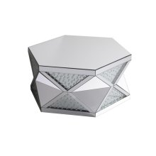 Glam up your living space with this ultra-modern hexagon coffee table. Made with high quality beveled mirror, designed in triangles of glass front inlaided with floating clear crystals, alternate by mirror panels, chic and vibrant, this table will certainly create a fashion statement in your home.