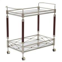 Melrose Serving Cart With Nickel Brush Metal Frame