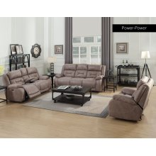 Aria 3PC Recliner Sofa Set with Power Head Rest in Desert Sand Faux Leather