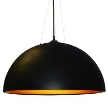 3 Bulb Pendant, Black & Gold Finish