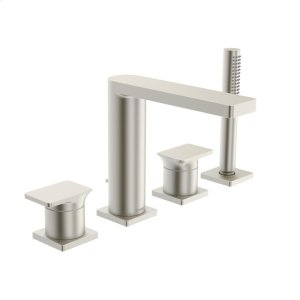 Strata X 4-hole roman tub trim kit, brushed nickel Product Image