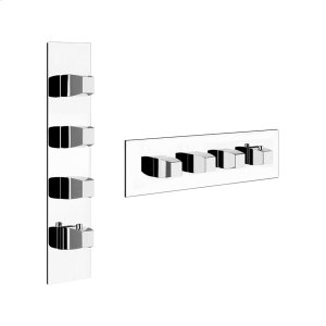 """TRIM PARTS ONLY External parts for thermostatic with 3 volume controls Single backplate High capacity 3/4"""" connections Vertical/Horizontal application Anti-scalding Requires in-wall rough valve 39695 Product Image"""