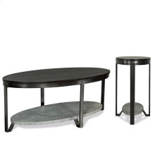 Oval Chairside Table - Weathered Worn Black Finish