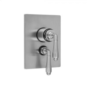 """Antique Brass - Rectangle 2-Hole Plate With Smooth Lever Trim For 1/2"""" Thermostatic Valve With Integral Volume Control (J-THVC12) Product Image"""