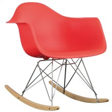 Rocker Plastic Lounge Chair in Red