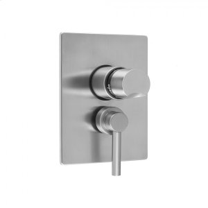 """Antique Brass - Rectangle Plate with Thumb Thermostatic Valve and Contempo Low Lever Volume Control Trim for 1/2"""" Thermostatic Valve with Integral Volume Control (J-THVC12) Product Image"""