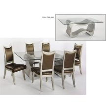 "Dining Table with Glass Base: 53x21x29"" Glass: 45x76"""