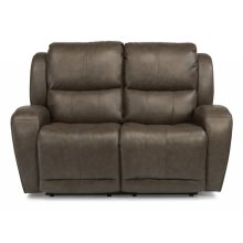 Chaz Leather Power Reclining Loveseat with Power Headrest Upgrade