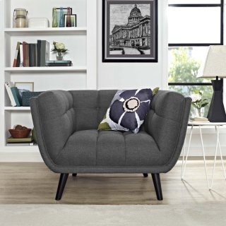 Bestow Upholstered Fabric Armchair in Gray