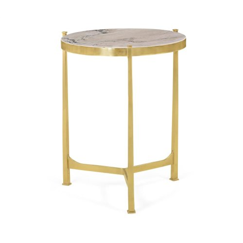 Polished solid brass lamp table with Blanco Equador marble top (Medium)