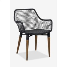 Outdoor Mercury Arm Chair With Wood-Iron Accents Legs-Black Texture Synthetic Rattan (24X24X32)