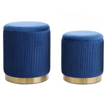 BEECHER OTTOMAN TEAL- SET OF 2  Teal Ribbed Velvet Storage Ottoman with Gold Finish on Metal Band