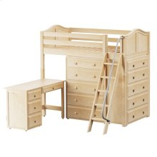 High Loft w/ Angle Ladder, 2 x5 Drawer Dressers & Desk : Twin : Natural : Curved