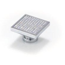 Large Square With Round Swarovski Crystals, Bright Chrome
