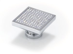 Large Square With Round Swarovski Crystals, Bright Chrome Product Image