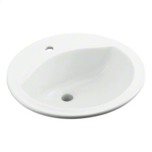 Modesto™ 19x19x8 Round Lavatory with Single Faucet Hole Drilling - White Product Image