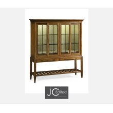 Country Walnut Glazed Display Double Cabinet