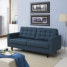 Empress Upholstered Fabric Loveseat in Azure