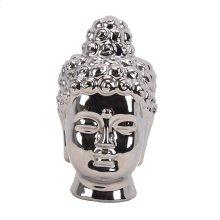 Silver Ceramic Buddha Head