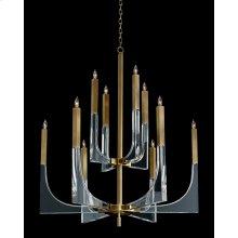 Acrylic and Brass Ten-Light Chandelier