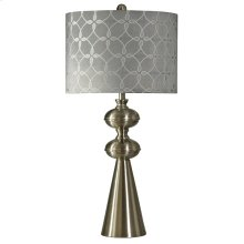 L310257  Transitional Brushed Steel Table Lamp with Gray Toned Pattern Shade