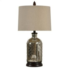 L32115  Netted Antique Silver Plated Table Lamp with Handback Drum Shade