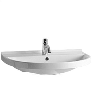 Isabella Collection large, U-shaped china wall mount basin with chrome overflow and rear center drain. Product Image