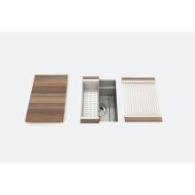 "SmartStation® 005450 - undermount stainless steel Kitchen sink , 12"" × 18 1/8"" × 10"" (Walnut)"