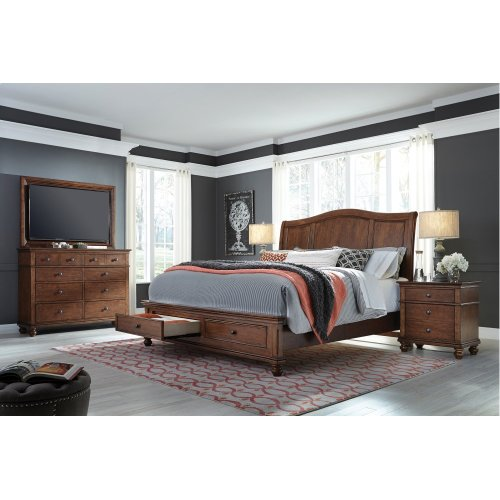King Whiskey Brown Sleigh HDBD w/ Storage and USB ports; complete bed