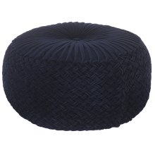 Large Navy Round Velvet Pouf with Ruching