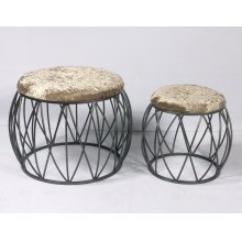 Emerald Home Ac351-rd-crm-2pcset Sorrento Stool Set, Silver
