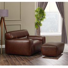 SU-AX6816-CO  Leather Armchair with Ottoman  Brown