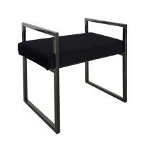 Black/black Velveteen Bench W/handles