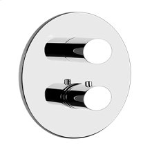 "TRIM PARTS ONLY External parts for thermostatic with single volume control Single backplate 1/2"" connections Vertical/Horizontal application Anti-scalding Requires in-wall rough valve 09279"
