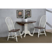"""DLU-ADW4242-C30-AW3PC  3 Piece 42"""" Round Drop Leaf Dining Set  Antique White with Chestnut Top  Spindleback Chairs"""