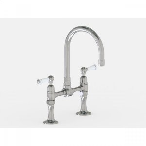 """Brushed Stainless - Deck Mount 7"""" Swivel Bar Faucet Spout with White Ceramic Lever Product Image"""