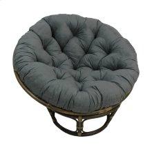Bali 42-inch Rattan Papasan Chair with Microsuede Fabric Cushion - Walnut/Steel Grey