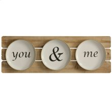 You & Me Setting  Wooden and Metal Material Wall Hanging with Painted Lettering  Built in Hanging
