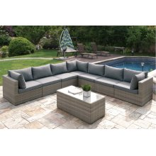 413 / Liz.p32- 8PC OUTDOOR PATIO SOFA SET [P50141(3)+P50143(4)+P50151(1)]