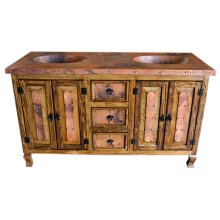 Copper Vanity with double sinks ,4 doors and 3 drawers