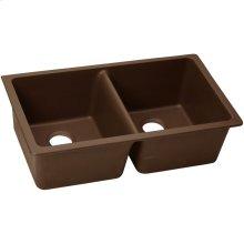 "Elkay Quartz Classic 33"" x 18-1/2"" x 9-1/2"", Equal Double Bowl Undermount Sink, Pecan"