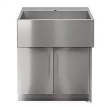 "OUTDOOR KITCHEN CABINETS IN STAINLESS STEEL  PURE 30"" Sink Cabinet SocialCorner 2 doors Right"