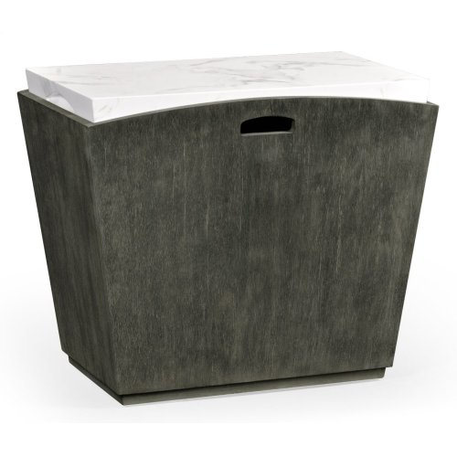 Outdoor Grey Weather & Faux White Marble End Table
