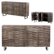 Bengal Manor Mango Wood Wave 4 Door Grey Sideboard