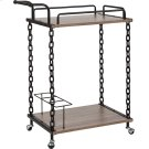 Uptown Light Oak Wood and Industrial Iron Kitchen Serving and Bar Cart Product Image
