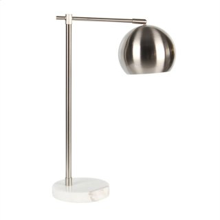 "Metal 22"" Round Task Table Lamp, Silver"